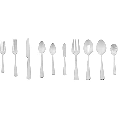 AmazonBasics 65-Piece Stainless Steel Flatware Set with Square Edge, Service for 12