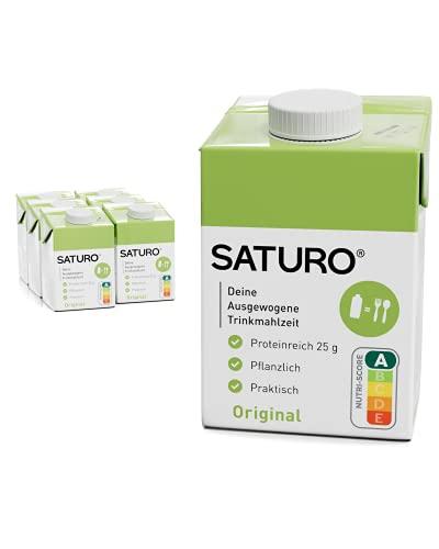 SATURO® Trinkmahlzeit Original | Astronautennahrung Mit Protein & 500kcal | Vegane Trinknahrung Mit Wertvollen Nährstoffen | 6 x 500 ml