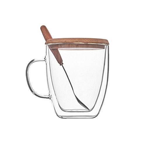 Taza de café de cristal de doble capa con taza de agua aislada para hacer la taza de té transparente con tapa de madera para la oficina o el hogar (tamaño: 500 ml)