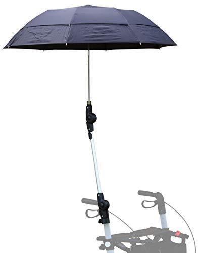FabaCare Rollatorschirm mit Halterung, Regenschirm für Rollator Leopard, Gepard, Buffalo und Lion