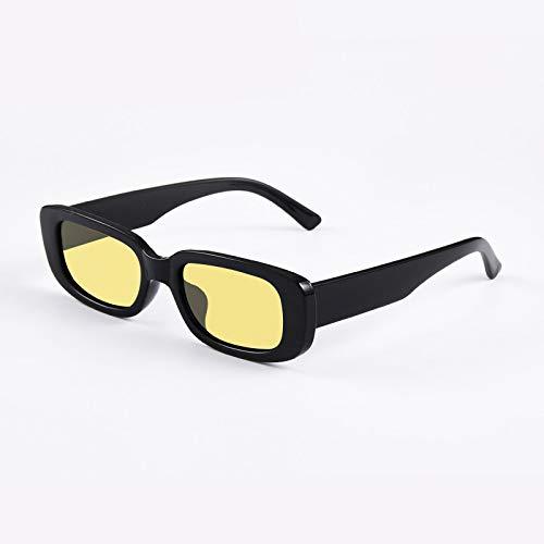 Astemdhj Gafas de Sol Sunglasses Gafas De Sol Rectangulares Vintage para Mujer, Gafas De Sol De Visión Nocturna para Hombre, Gafas De Sol con Lentes Amarillas Pequeñas A La ModaAnti-UV