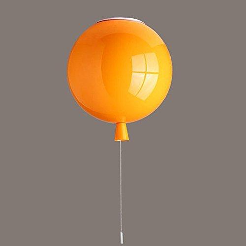 Tkind Plafonnier moderne en acrylique Lampe suspension ballon Lustre créatif 5 couleurs (jaune, blanc, orange, rouge, vert) Éclairage décoratif pour chambre à coucher, bureau, jardin d'enfants, café, salon, E27 x 1,Ø 25 cm