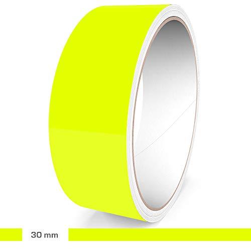 Motoking Zierstreifen, Neon Gelb Fluoreszierend, 30 mm Breite, 10 m Länge, Aufkleber Folie Auto Boot Motorrad Wohnmobil Wohnwagen & mehr