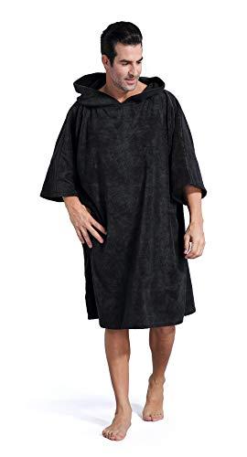 Winthomeお着替えポンチョ タオル サーフィンポンチョ お着替えタオル 速乾吸水 長袖 防寒 全6色 (ブラック)