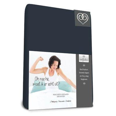 Bed-Fashion Mako Jersey Elastaan Hoeslaken Luxe 70 x 200 cm Navy Blauw, Satijn, Enkel