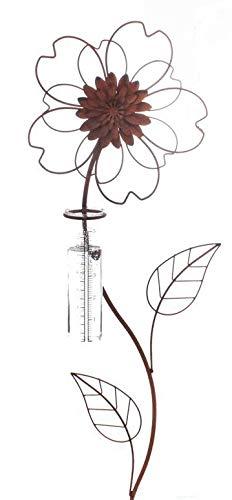 Rost Deko Metall Stecker. Blume mit REGENMESSER Niederschlaggsmesser. Ca 100 cm. Art.: 70425 2