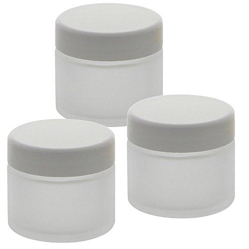 3 matte Glas-Tiegel 100ml mit weißem Deckel Kosmetex Kosmetik-Dose, Salbentiegel, Cremedose, 3x Deckel-Weiss