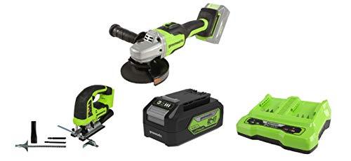 Greenworks Akku-Winkelschleifer GD24SAG + Akku-Stichsäge GD24JS +Akku G24B4 2.Generation +Doppelsteckplatz-Akku-Universalladegerät G24X2C