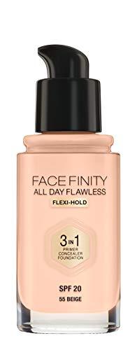 Max Factor Facefinity All Day Flawless 3 in 1 Foundation in Beige 55 – Primer, Concealer & Foundation in einem – Für ein perfekt mattiertes Finish – 1 x 30 ml