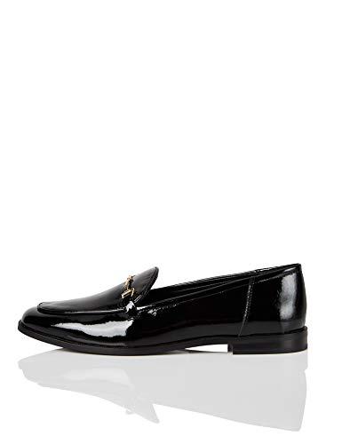 Marca Amazon - find. Snaffle Leather Loafer Mocasines, Negro Black, 36 EU