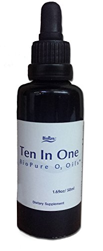BioPure Ten in One O3 Oil - Ozonated Olive Oil and Castor Oil: Peppermint, Geranium, Walnut, Clove, Artemisia, Garlic, Black Cumin, Marjoram, Moxa, Thyme, Oil of Bitter Almonds, Frankincense (50 ml, liquid)