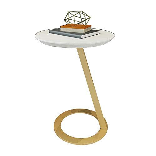 XIAODONG Table D'appoint Canapé Salon Bois Massif Table De Snack Armature En Métal Table Basse Chambre Table De Chevet Balcon Table,15.74''×21.65'' Facile à déplacer (Couleur : Or)