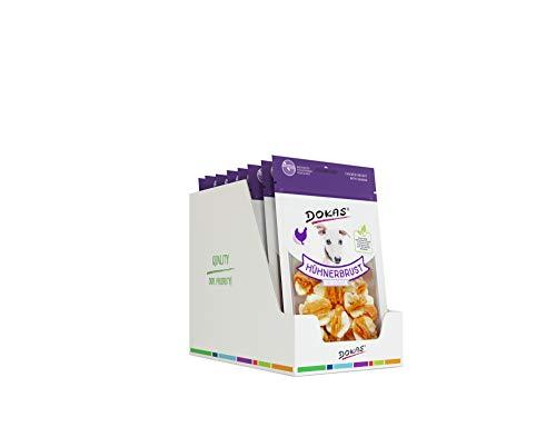 DOKAS Getreidefreier Premium Snack mit Hühnerbrust für Hunde, Banane, 8 x 70g