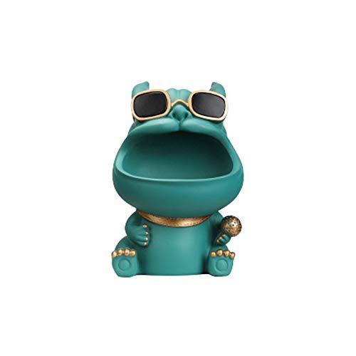 Los adornos creativos de Bulldog, pueden ser almacenados o decorados, hechos de resina respetuosa con el medio ambiente, despedida de la licitación para desordenado, adecuado para sala de estar, verde