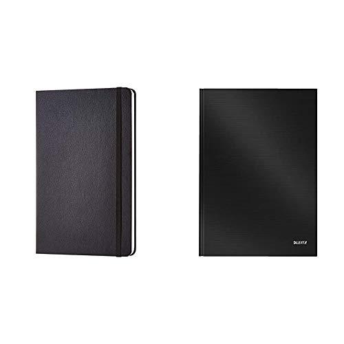 Amazon Basics Notizbuch, klassisches Design, groß, kariert & Leitz A4 Notizbuch, 80 Blatt, Hardcover, Karierte Seiten, Solid, Schwarz, 46640095