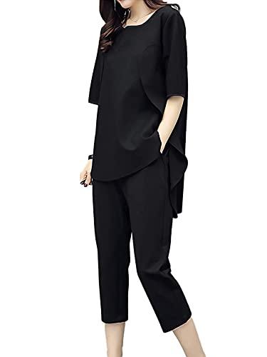 [アズルテ] セットアップ レディース ファッション 上下セット ルームウェア 部屋着 韓国ファッション パジャマ 無地 春 夏 秋 春物 夏物 秋物 春夏 半そで ワンマイルウェア 女性用 2点セット トップス シャツ カットソー ボトムス パンツ 199 M ブラック