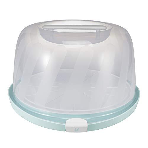keeeper Marmorkuchenbehälter für Gugelhupf-Formen, Mit Schneiderillen und Servierplatte, BPA-freier Kunststoff, 38 x 37,5 x 21 cm, Marcello, Mintgrün