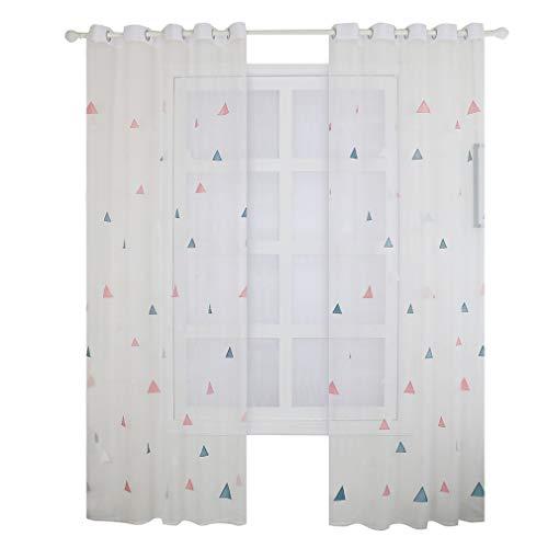 LIGHTBLUE Cortina para habitación infantil, diseño triángulo bordado, ventana de tul, color rojo