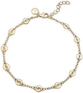 SET Armband Pl/ättchen geb/ürstet 925 Silber vergoldet