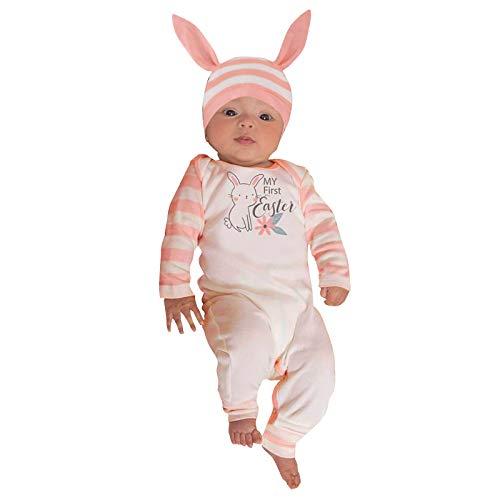 Katsaz Mi Primera Pascua Body Bebe Niño Mameluco Niños Niñas Lindo Estampado de Conejo Ropa Bebe Niña Recien Nacido Mono Bebés Bautizo Infantil Fiesta Pijama + Sombrero Trajes