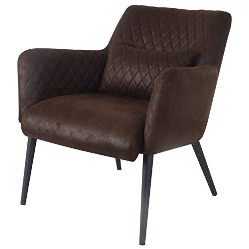 Damiware Rose Lazy Stuhl | Design Clubsessel Cocktailsessel Loungesessel Polstersessel Relaxsessel Lounge Couch Sofa mit Leder-Optik Stoffbezug | (Burgundy)