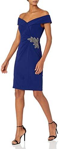 Alex Evenings Women s Short Crepe Off The Shoulder Cocktail Dress Electric Blue 12 product image