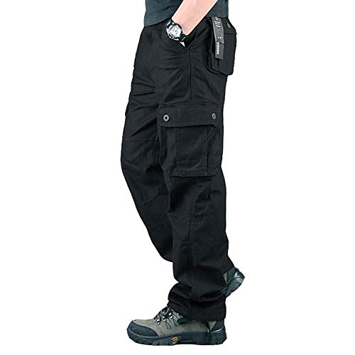 Men's Tactical Hiking Work Trousers, Water Repellent Ripstop Cargo Pants, Lightweight Outdoor Camping Walking Trousers