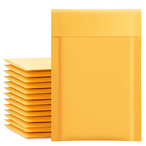UCGOU Kraft Bubble Mailers 4x8 Inch 50 Pack Yellow Padded Envelopes #000 Small Business Mailing Packages Self Sealing Tear Resistant Boutique Bulk Mail Shipping Bags for Jewelry Makeup Supplies