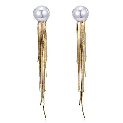 zhaohupinpai Pendientes de Perlas con Flecos Largos, Pendiente de Perlas de imitación de Plata esterlina S925, Hipoalergénico, Gota para el oído de Moda para Mujer, Regalo para el día de San Valentín