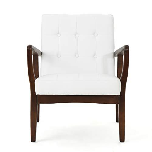GDF Studio Conrad Mid Century Modern Arm Chair Faux Leather (White)