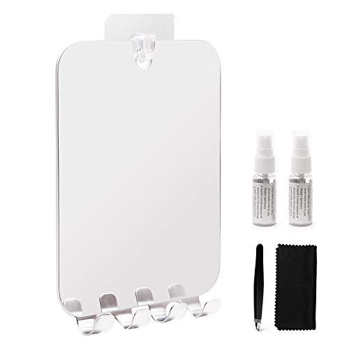 Fogless Mirror.Anti Fog Shaving Mirror with Razor Holder.Seamless Hooks. Lightweight Portable Shower Mirror Wall Hanging. Shatterproof