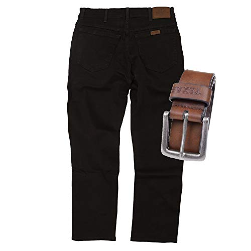 Regular Fit Wrangler Stretch Herren Jeans inkl. Texas Gürtel (Black + Brauner Gürtel, W38/L30)