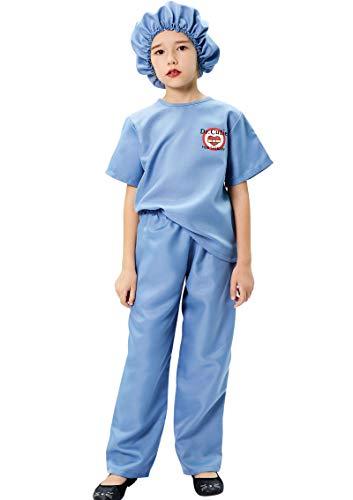 Tacobear Doctora Disfraz Niños Enfermera Médico Disfraz Cirujano Juego de rol Carnaval Fiesta Halloween Disfraz para Niña Niño (S, 5-7 Años)
