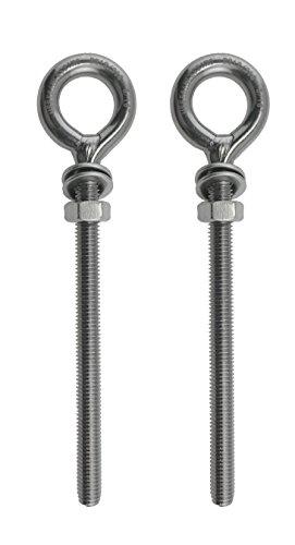 2 Pieces Stainless Steel 316 M8 Eye Bolt 8mm x 100mm Marine Grade