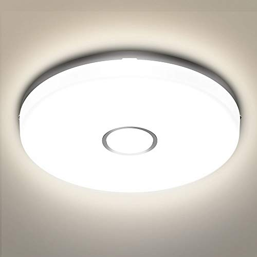 Olafus 18W Lampe Plafond, Style Moderne Rond 24CM Mince, Plafonnier Salle de Bains LED Lumière Blanc Neutre 4000K, IP54 Etanche, Eclairage Intérieur Idéal pour Chambre, Atelier, Cuisine, Vestiaire