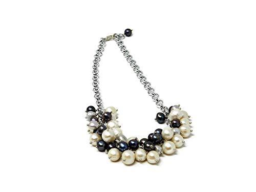 Collana girocollo con perle di fiume Potato bianche e grigie