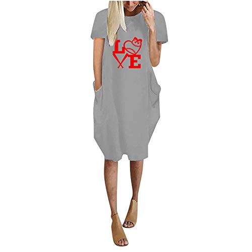 Women's Shirt Dress Creative Heart Print Long T-Shirt Short Sleeve Casual Midi Dress Summer Solid Color Loose Dress Sleepwear Loungewear with Pockets Gray
