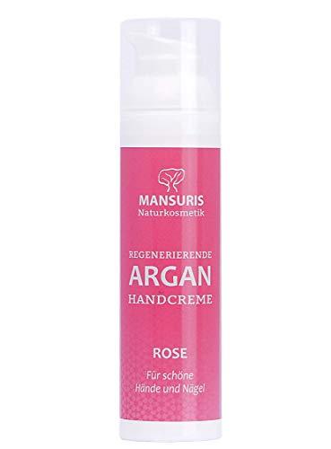 Bio Handcreme Rose - Mit Arganöl für Hände, Füße & Nägel, Creme für sehr trockene und rissige Hände, Nagelcreme für brüchige Nägel, schnell einziehend & nicht fettend, Rosenduft im Spender 70 ml