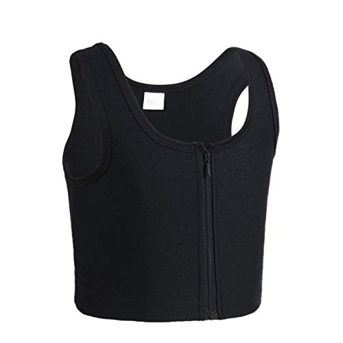 JARAZIN Women Tomboy Lesbian Middle Zipper Mesh Plus Size Chest Binder Tank Top Vest(XL, Black)