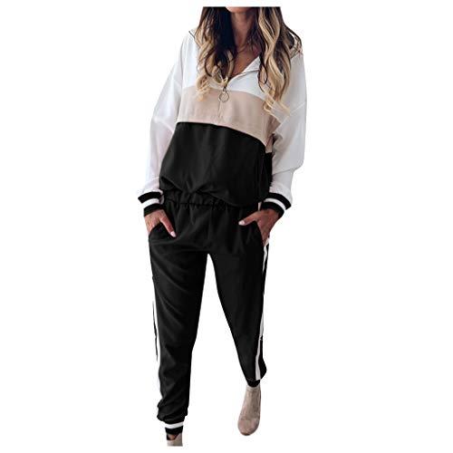 MOVERV Conjuntos de Deporte Chándal para Mujer,Chandal Conjunto para Mujer Moda Casual Conjuntos Deportivos Manga Larga Sudadera con Capucha Pantalones 2pcs Plus Size (Negro, L)