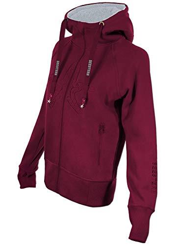 SEESTERN Damen Kapuzen Sweat Shirt Jacke Pullover Zip Hoody Sweater Gr.XS-XXL /1520 Bordeaux S