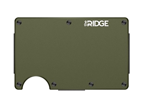 The Ridge Slim Minimalist Front Pocket RFID Blocking Titanium Metal Wallets for Men with Money Clip (Matte Olive)