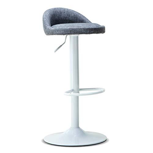 QTQZDD grijze metalen voet barkruk ronde stoel voetensteun linnen stoel rugleuning verstelbare draaistoel ontbijtbar CAF & Eacute; barkruk (kleur: grijs) 1 1