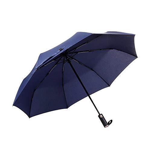 Veperain Paraguas-Paraguas Compacto Plegable, Resistente al Viento, con Tela hidro-Repelente, Pequeño y Ligero – Duradero Paraguas de Viaje (de Azul Marino)
