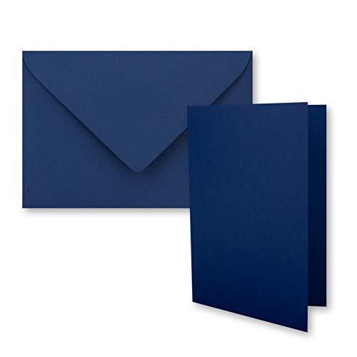 Juego de 50 tarjetas plegables DIN A7, 10,5 x 7,4 cm, con sobres DIN C7 en azul oscuro (azul) – pequeñas tarjetas dobles en blanco para diseñar e imprimir