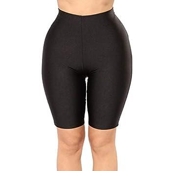 PESION Bike Shorts Women - Active Biker Yoga Shorts Sexy Spandex Boyshort Black #1 XX-Large