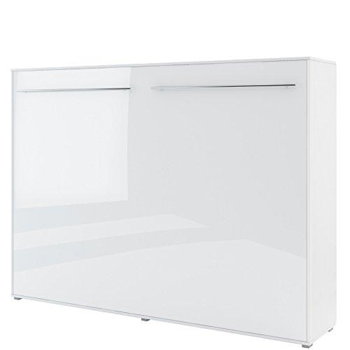Schrankbett Concept PRO Horizontal, Wandklappbett, Bettschrank, Wandbett, Schrank mit integriertem Klappbett, Funktionsbett (140 x 200 cm, Weiß/Weiß Hochglanz, Horizontal)