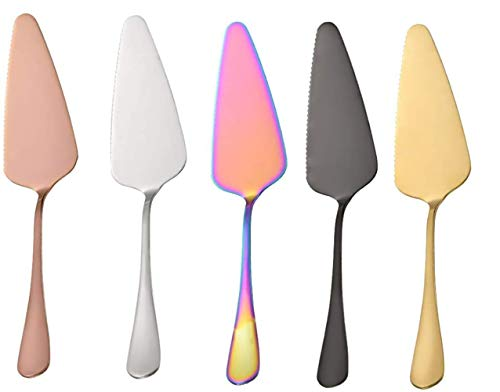 Cake Server Stainless Steel Pie Cake Server 5PCS Multi-color Pie Server Spatula Set for Birthday Party Cake and Wedding Serving