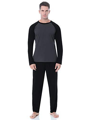 Aibrou Herren Schlafanzug Baumwolle Lang Pyjama Set Langarm Hausanzug Nachtwäsche mit Kontrastfarbe für Winter (D-Schwarz, Medium)