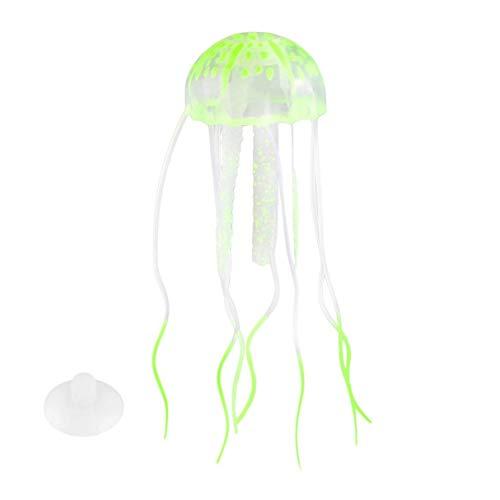 Morninganswer Adorno de Medusas Artificiales con Efecto Brillante de Silicona, pecera, decoración de Acuario, se Mueve por la Corriente del Agua en el Tanque, Amarillo